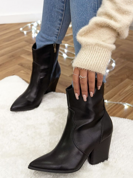 MAJID LEATHERETTE COWBOY BOOTIES