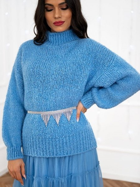 VELENIA SEA BLUE KNITTED BLOUSE