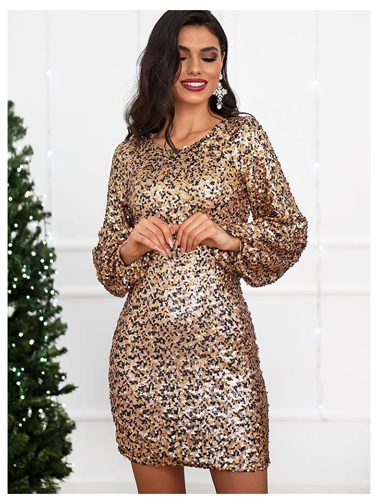 BELVEDERE BLACK & GOLD SEQUIN DRESS