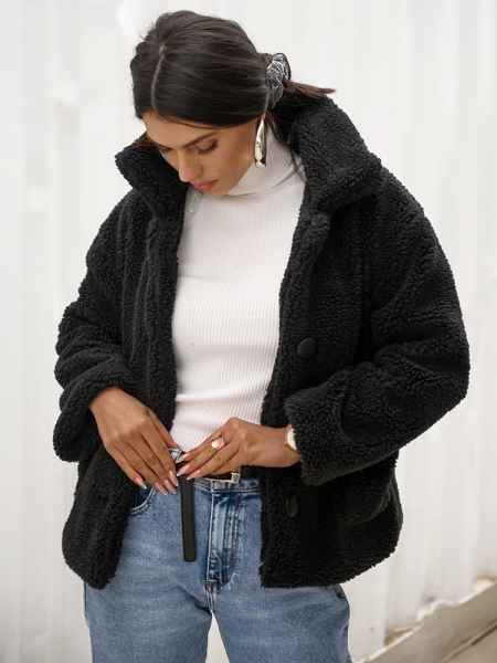 ESSENCE BLACK FLUFFY JACKET