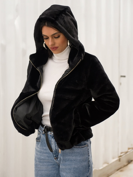 BLACK FUR BOMBER JACKET
