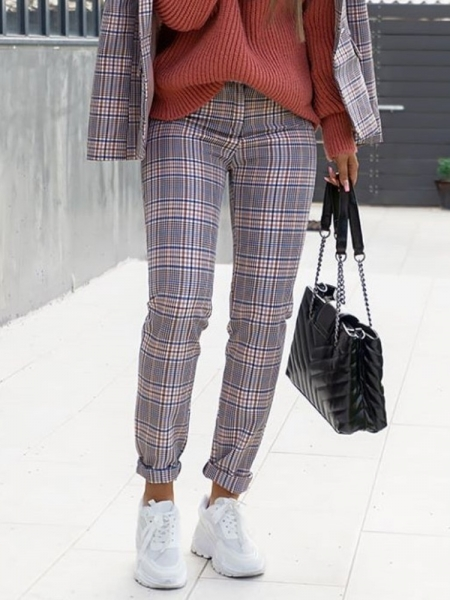 JULIET PINK CHECKED PANTS