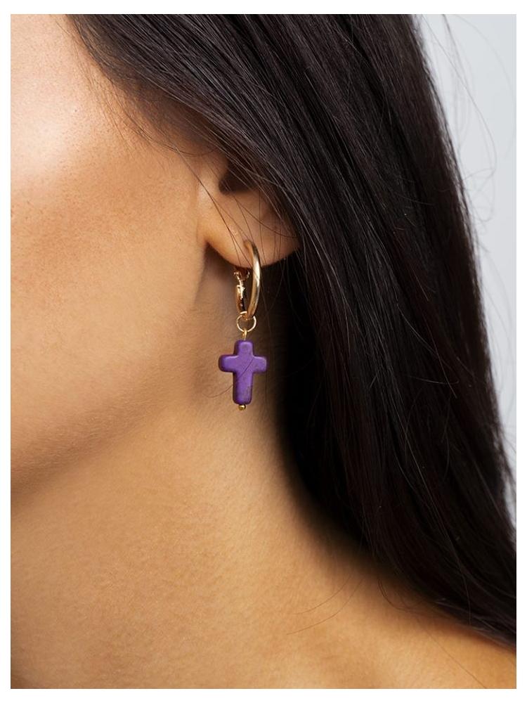 SISTINA CROSS HOOP EARRINGS (8 COLORS)