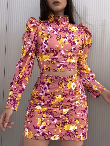 MARCH DUSTY PINK FLORAL (TWO-PIECE)