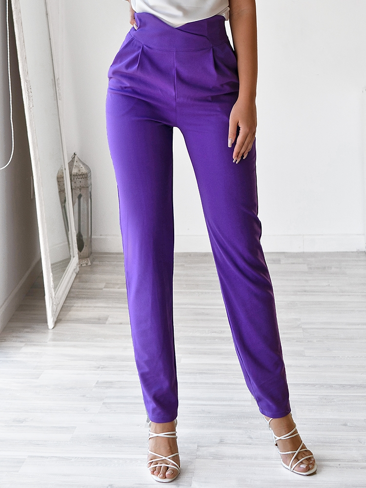 BEVERLY PURPLE HI WAISTED PANTS
