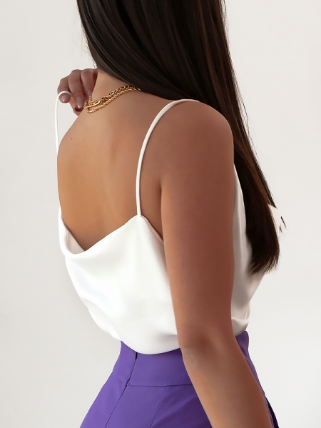 MONROE WHITE SATIN TOP