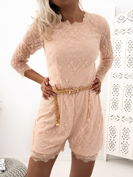 LAWRENCE PINK LACE JUMPSUIT