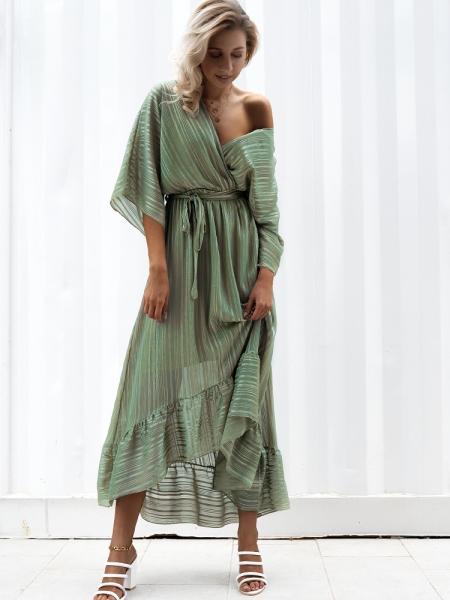 ODETTE OLIVE  MAXI DRESS
