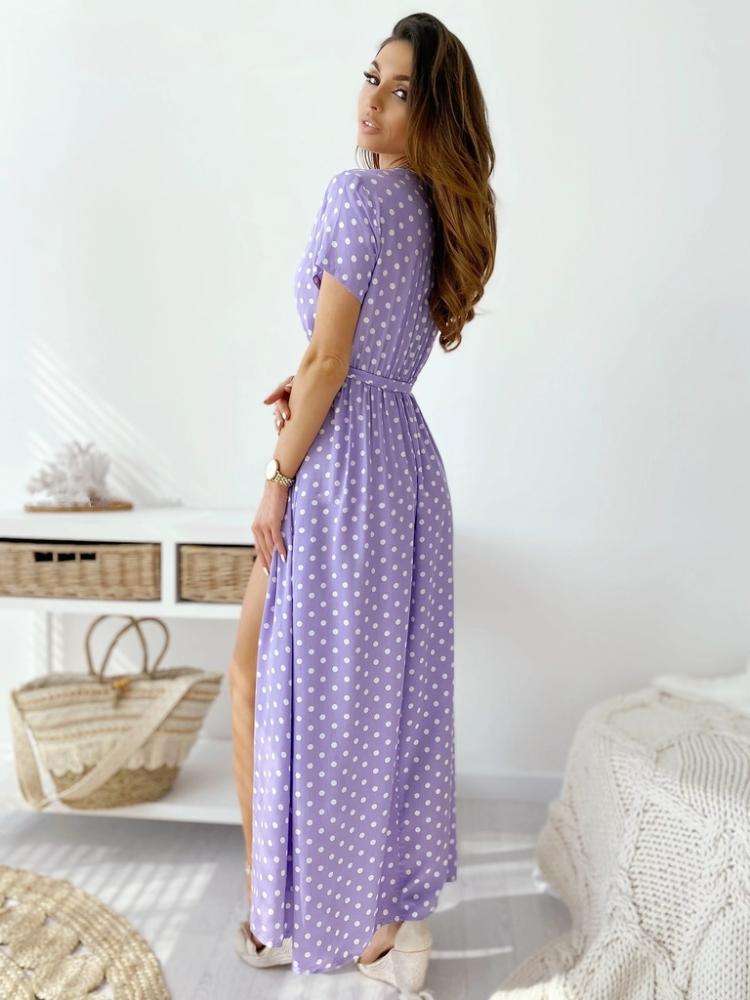 LIZA DOT LILAC MAXI DRESS