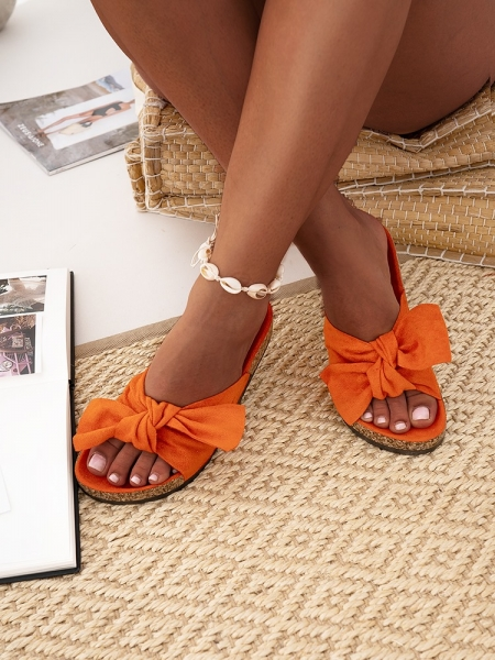ARANCIA SUEDE BOW SLIPPERS