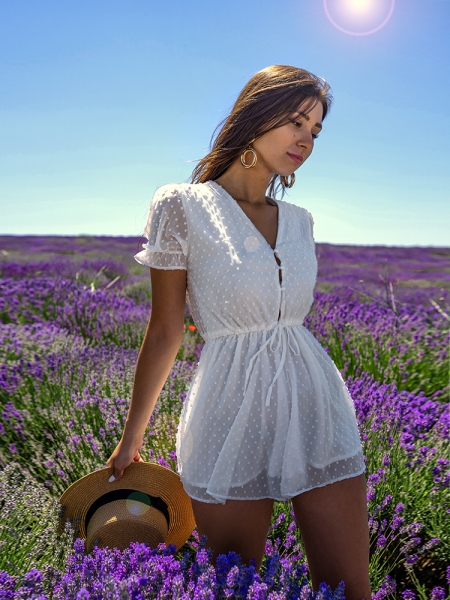 ELECTRA WHITE CHIFFON PLAYSUIT