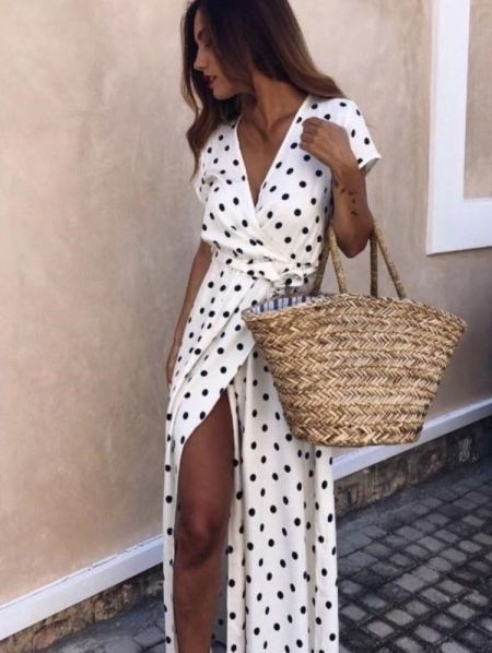 LIZA DOT WHITE MAXI DRESS