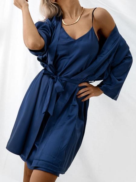 BITTER BLUE SATIN KIMONO & DRESS