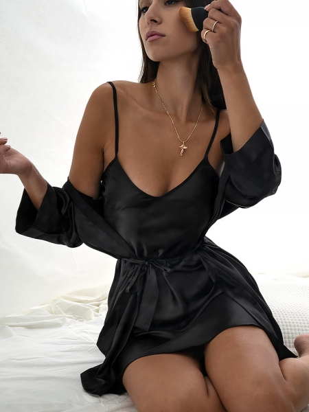 BITTER BLACK SATIN KIMONO & DRESS