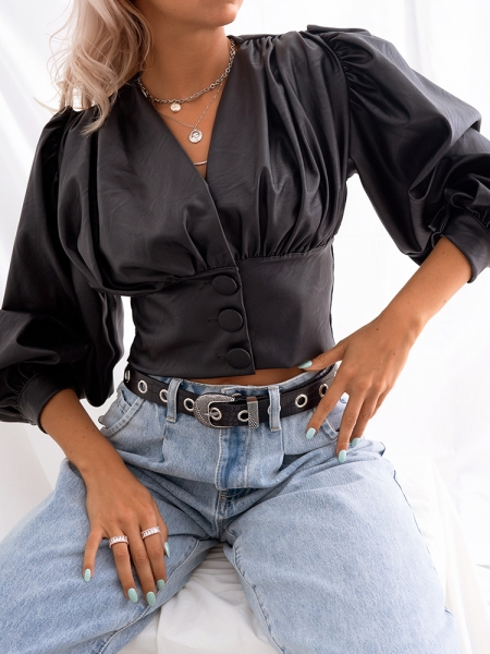 LOPEZ BLACK CROP SHIRT