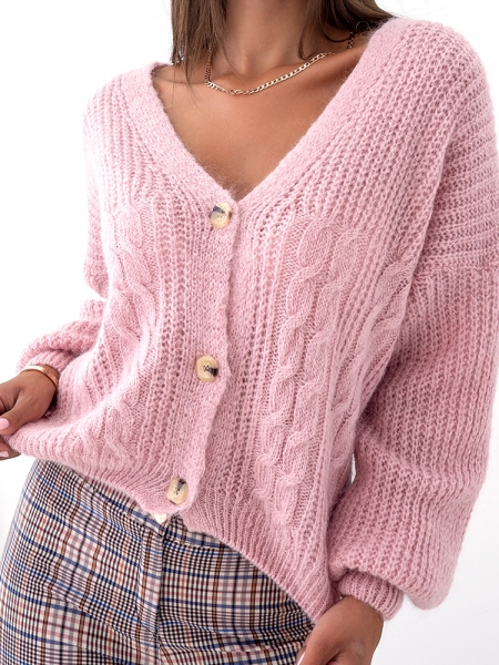 BUDAPEST PINK KNITTED CARDIGAN