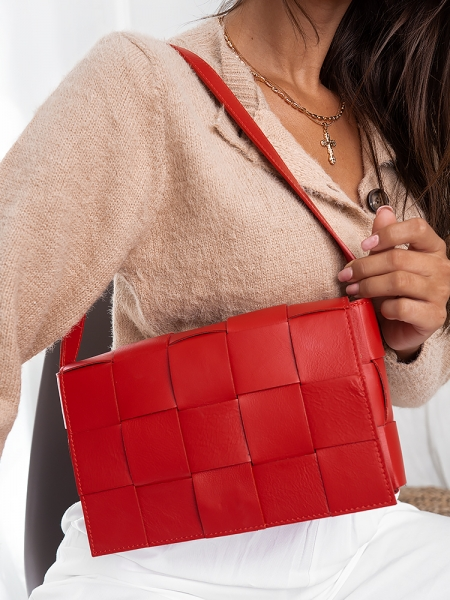 REAL LEATHER RED SHOULDER BAG