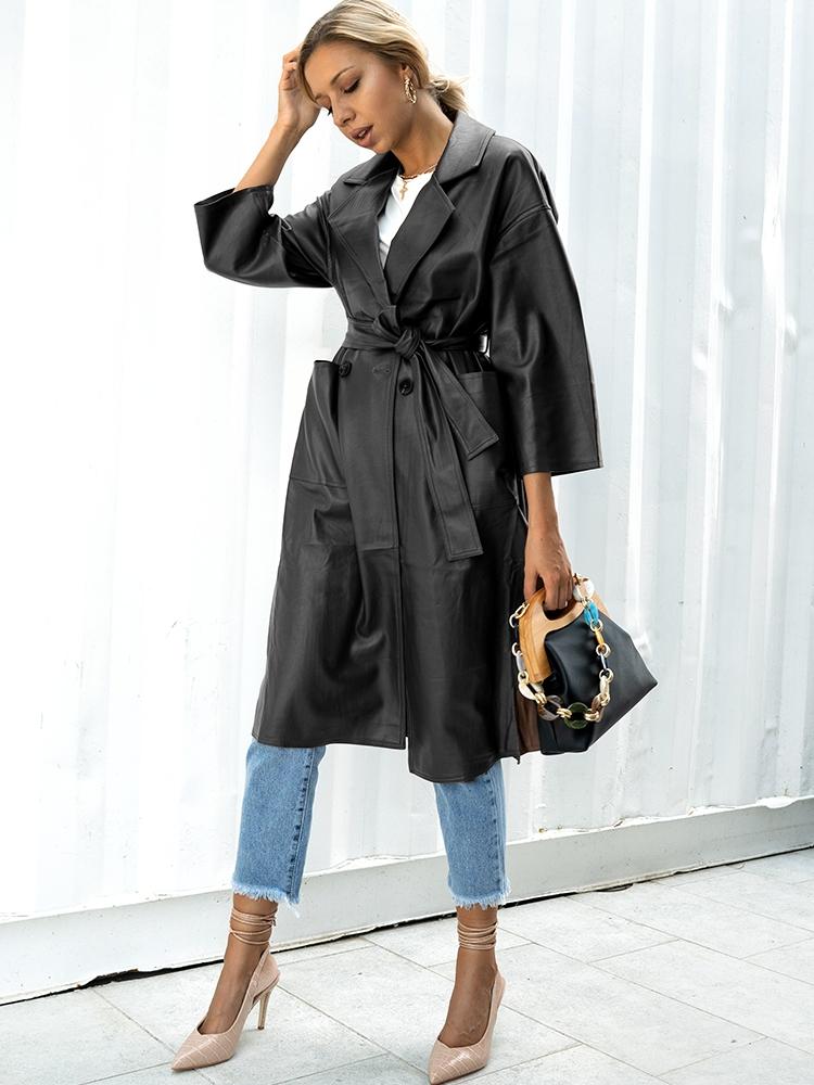 BLACK LEATHER LONG COAT