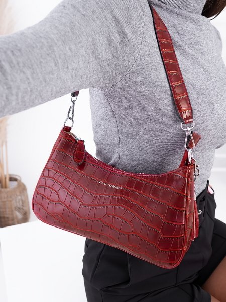 VINCENT WINE CROCO SHOULDER BAG
