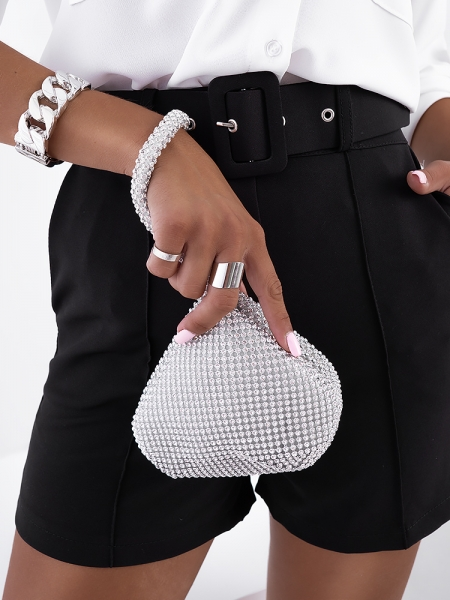 LIBY SILVER STRASS POUCH