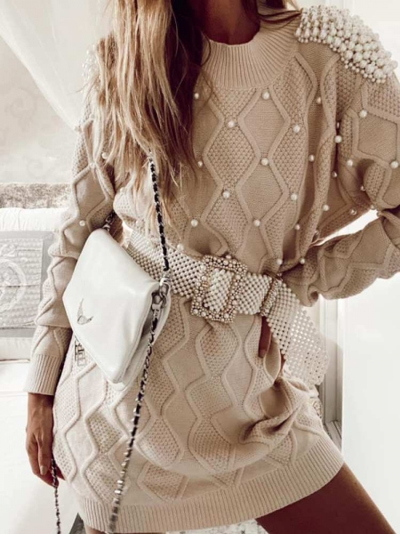 MAXI PEARL KNITTED PULLOVER