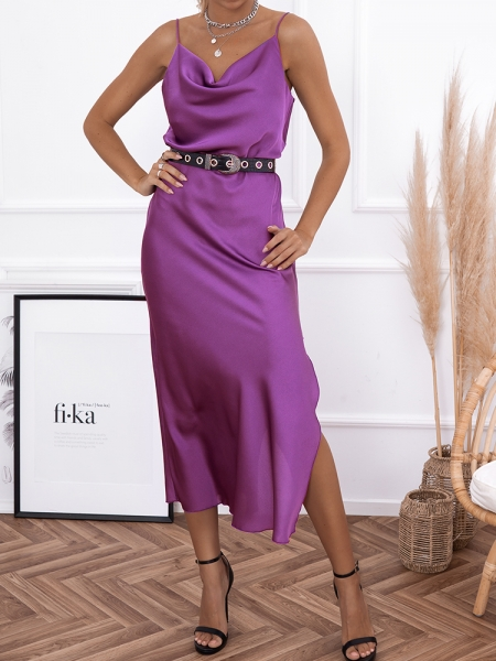 AMNESIA PURPLE SATIN DRESS