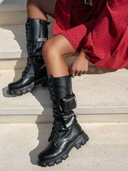 CHEVRON BLACK BIKER BOOTS