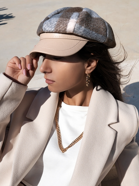 FEDERICA BEIGE CHECKED HAT