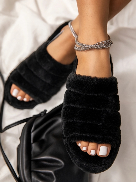 MELODY TEDDY BLACK SLIPPERS