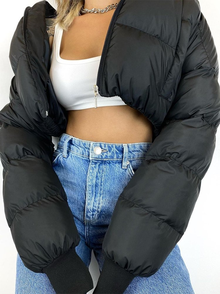 BLACK CROP PUFFER JACKET