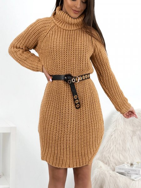 CECILIA CAMEL KNITTED DRESS