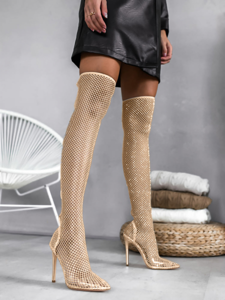 OMG NUDE OVER KNEE STRASS BOOTS