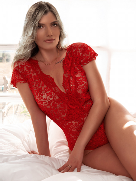 CYNTHIA RED LACE BODYSUIT