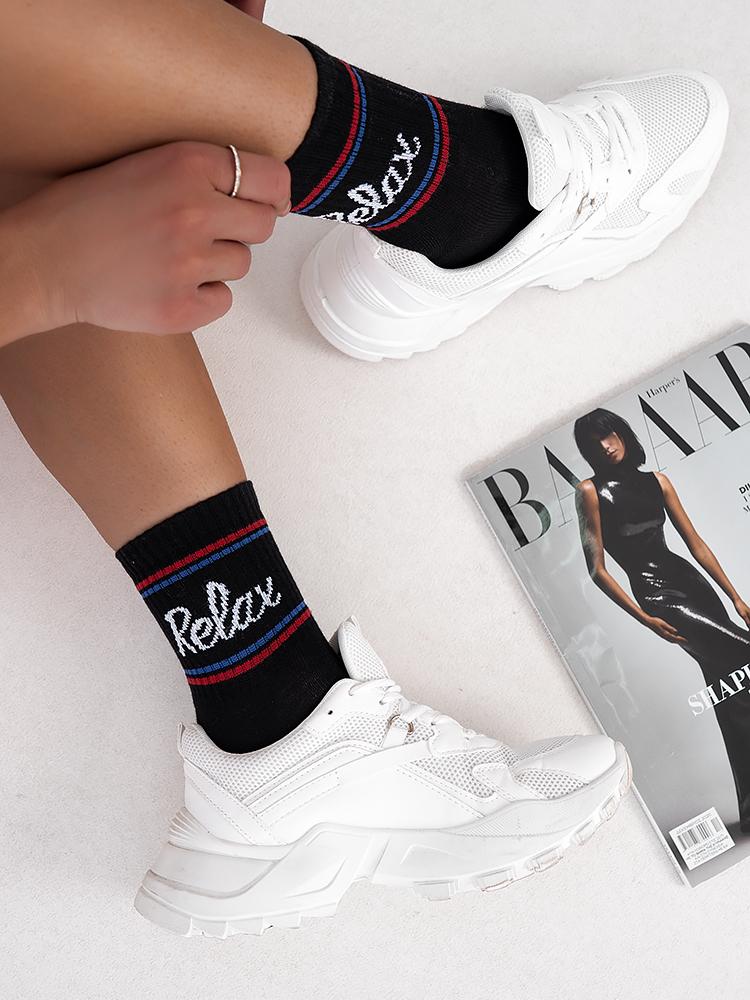 RELAX BLACK BASKET SOCKS