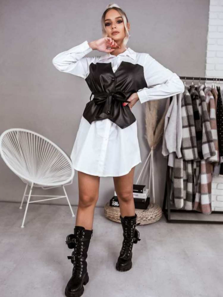 LIZZIE  LEATHER TOP  SHIRT