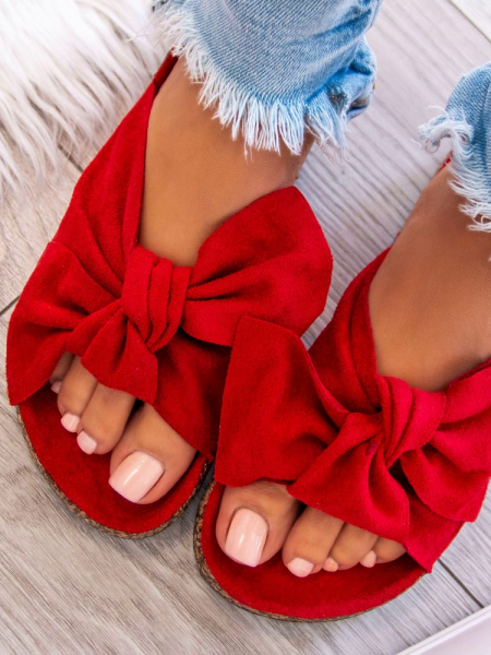 RED SUEDE BOW SLIPPERS