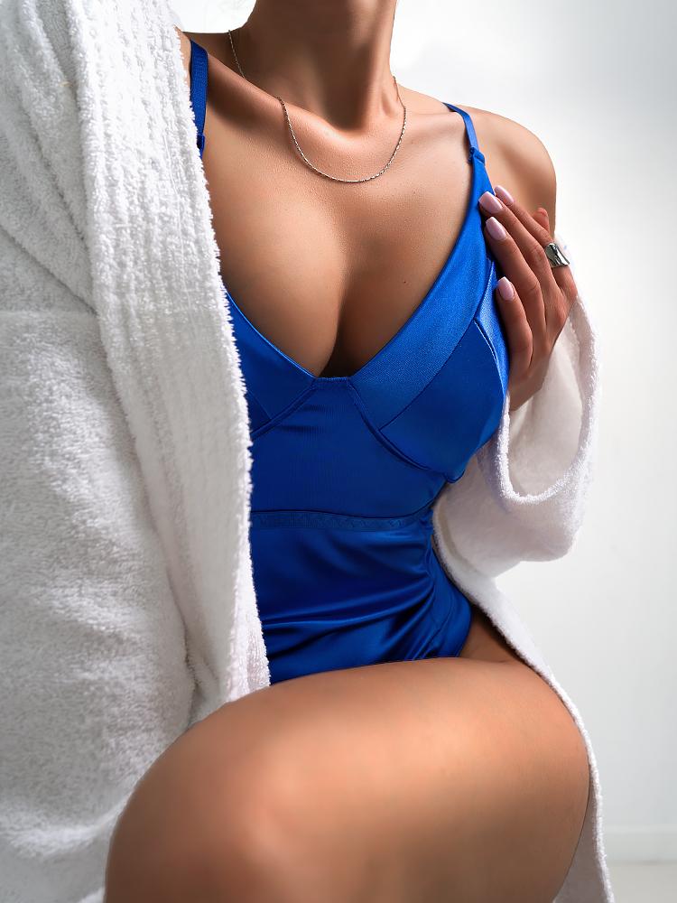 ARIANNA BLUE SATIN BODYSUIT