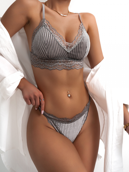 GREY VELVET LINGERIE SET