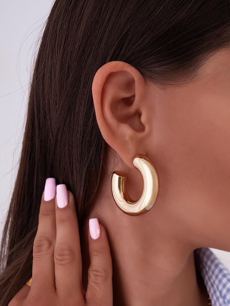 COOKIE GOLD MEDIUM HOOP EARRINGS
