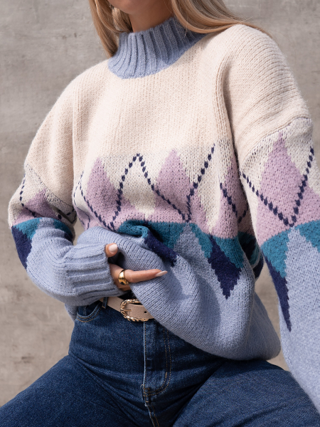 QUENTIN DUSTY BLUE KNITTED BLOUSE