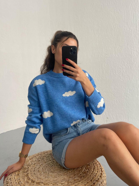 CLOUDY LIGHT BLUE KNITTED BLOUSE