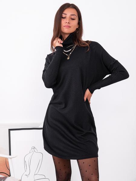 RIGNET BLACK KNITTED DRESS