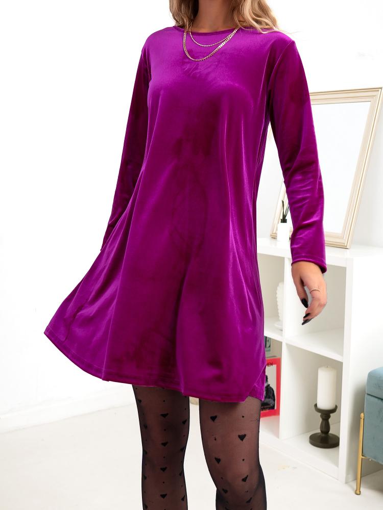 DALINA MAGENTA VELVET DRESS