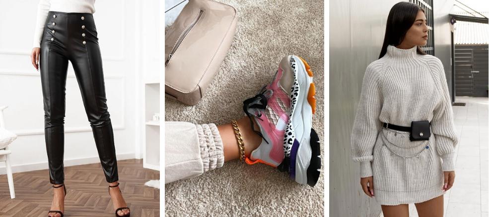 δερμάτινο παντελόνι με sneakers