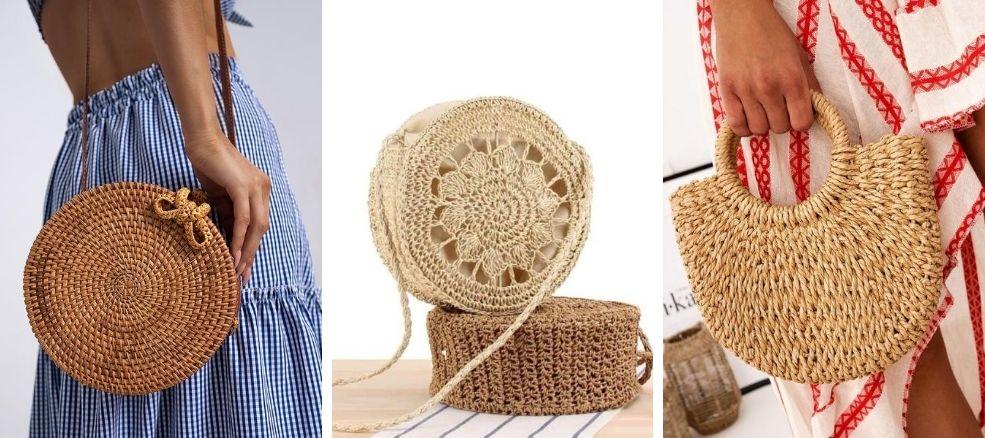 τσάντες από bamboo και ψάθινες