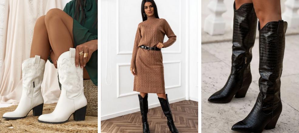 καουμπόικες μπότες και πλεκτό φόρεμα